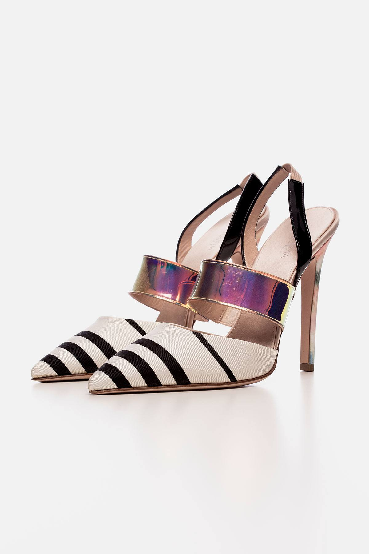WHITE RIGA STRIPED FAILLE AND PATENT-LEATHER SLINGBACK COURT SHOES