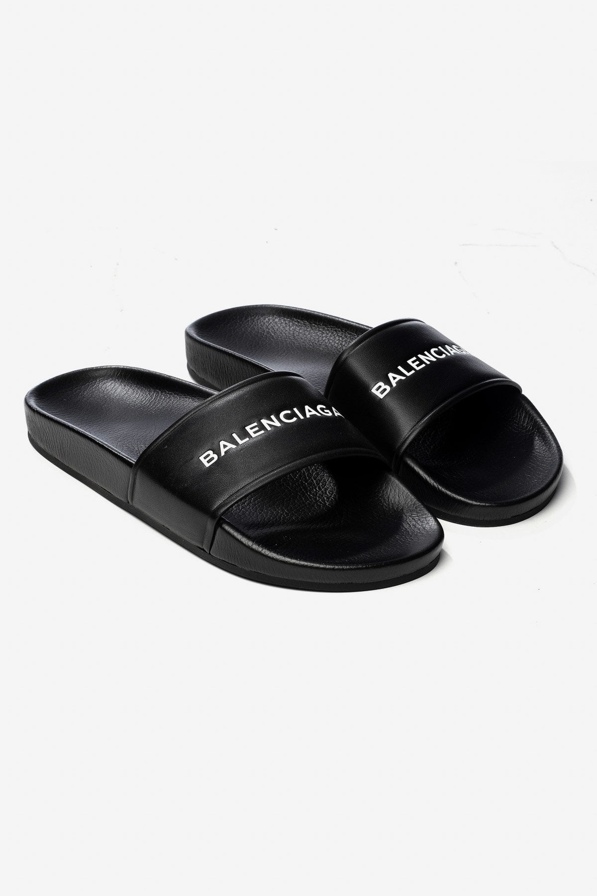 10MM PISCINE LOGO LEATHER SLIDE SANDALS