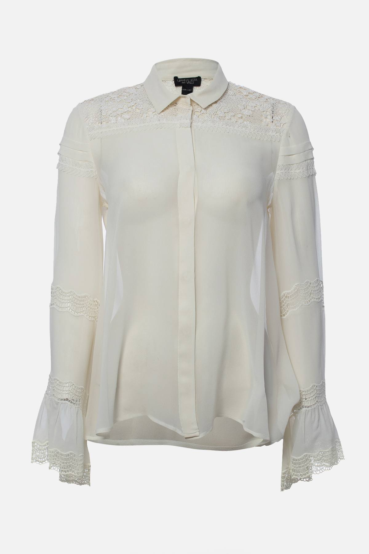 LONG-SLEEVE SILK BLOUSE W/LACE INSETS