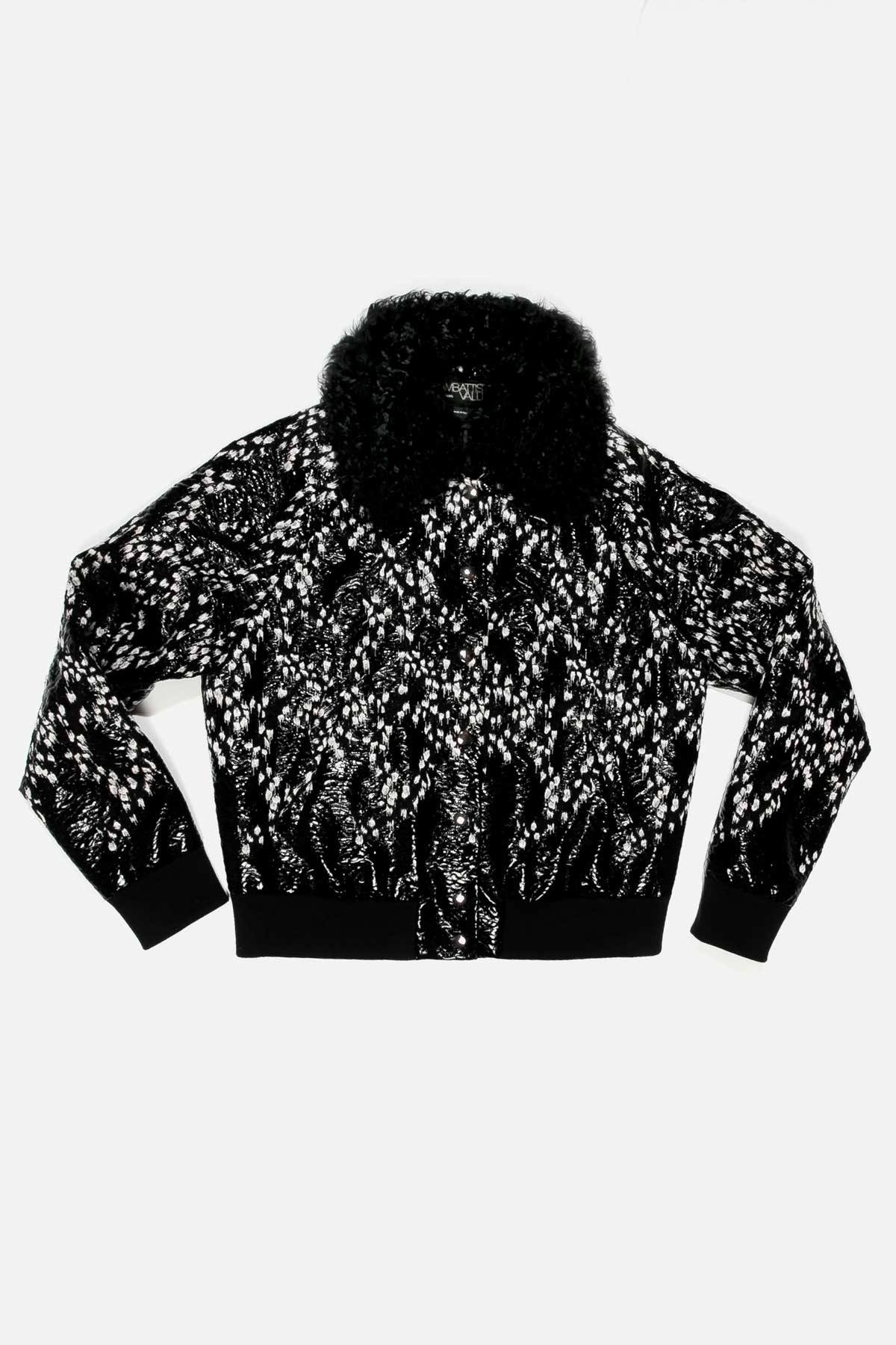 PRINTED LACQUER BOMBER JACKET