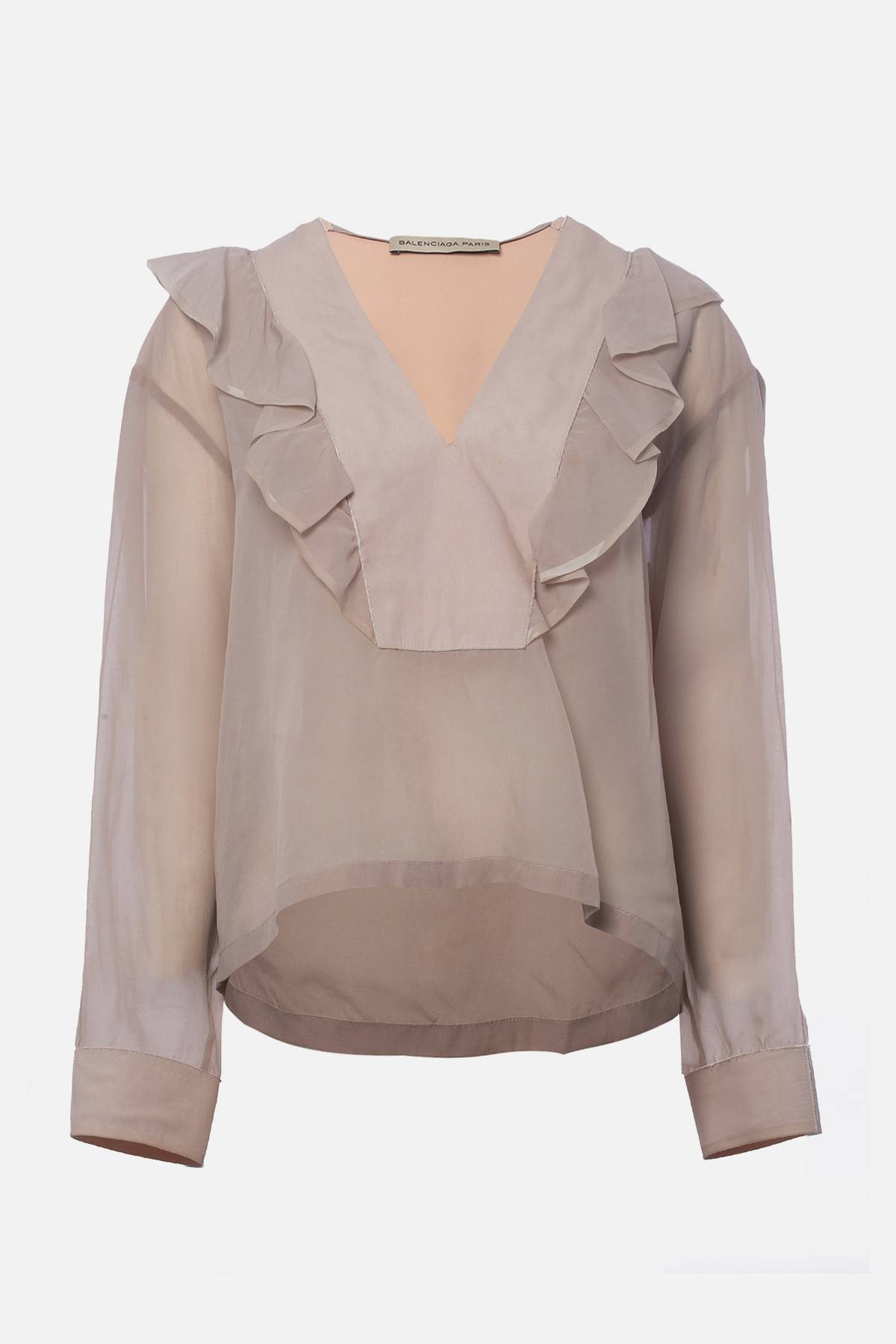RUFFLE-ACCENTED BLOUSE