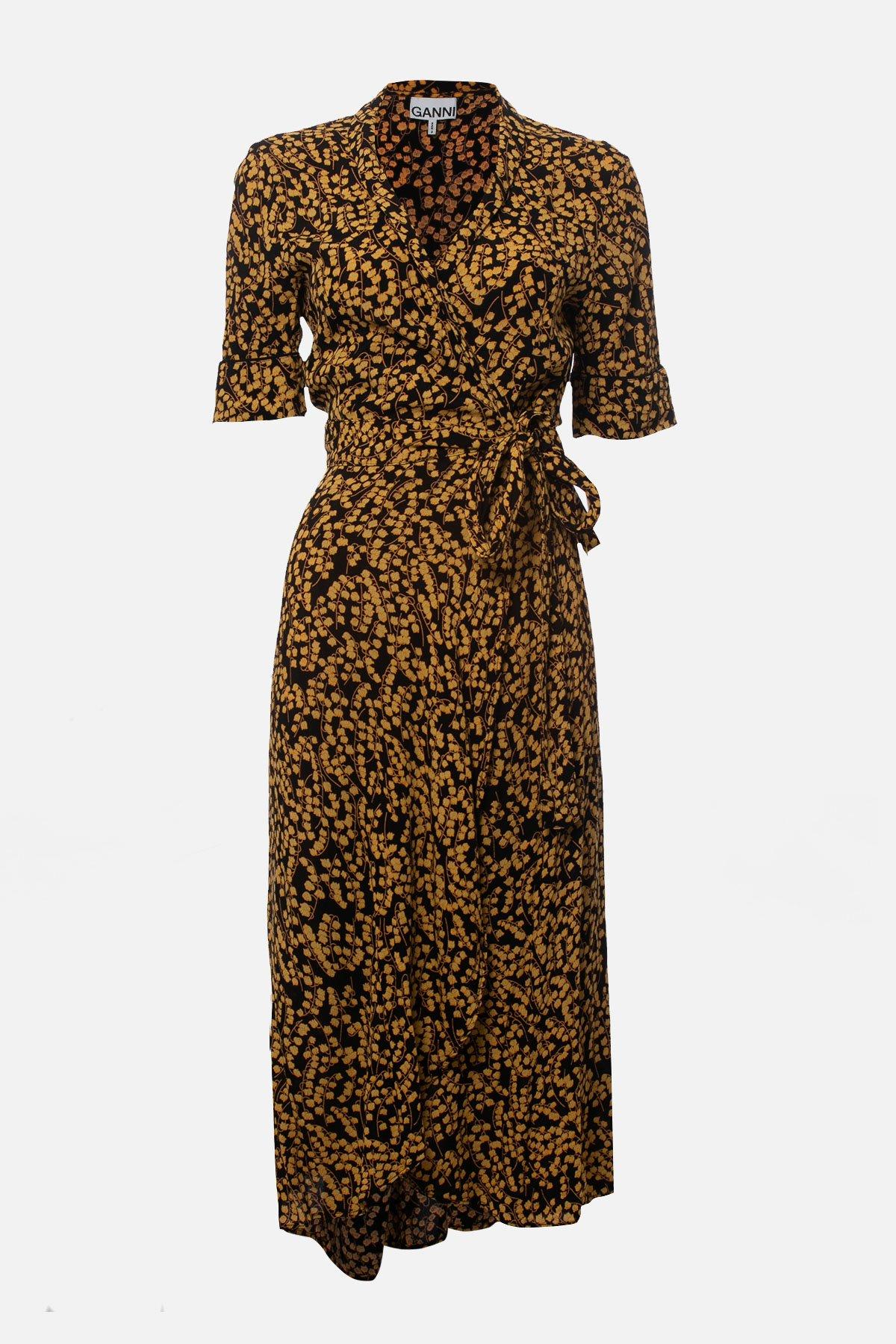 GOLDSTONE FLORAL PRINT CREPE WRAP DRESS