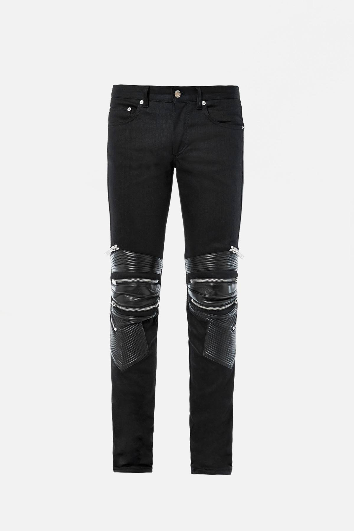 D04 Leather-Trimmed Skinny Jeans