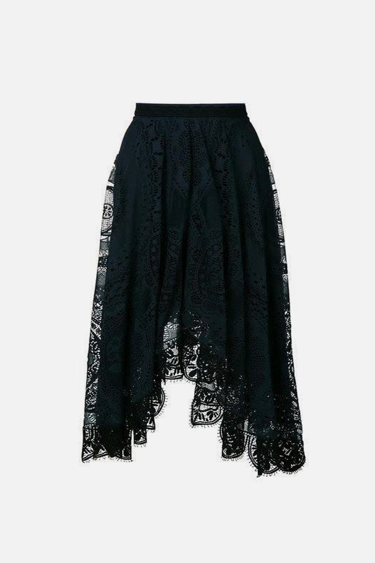 Asymmetric-hem lace cotton-blend skirt