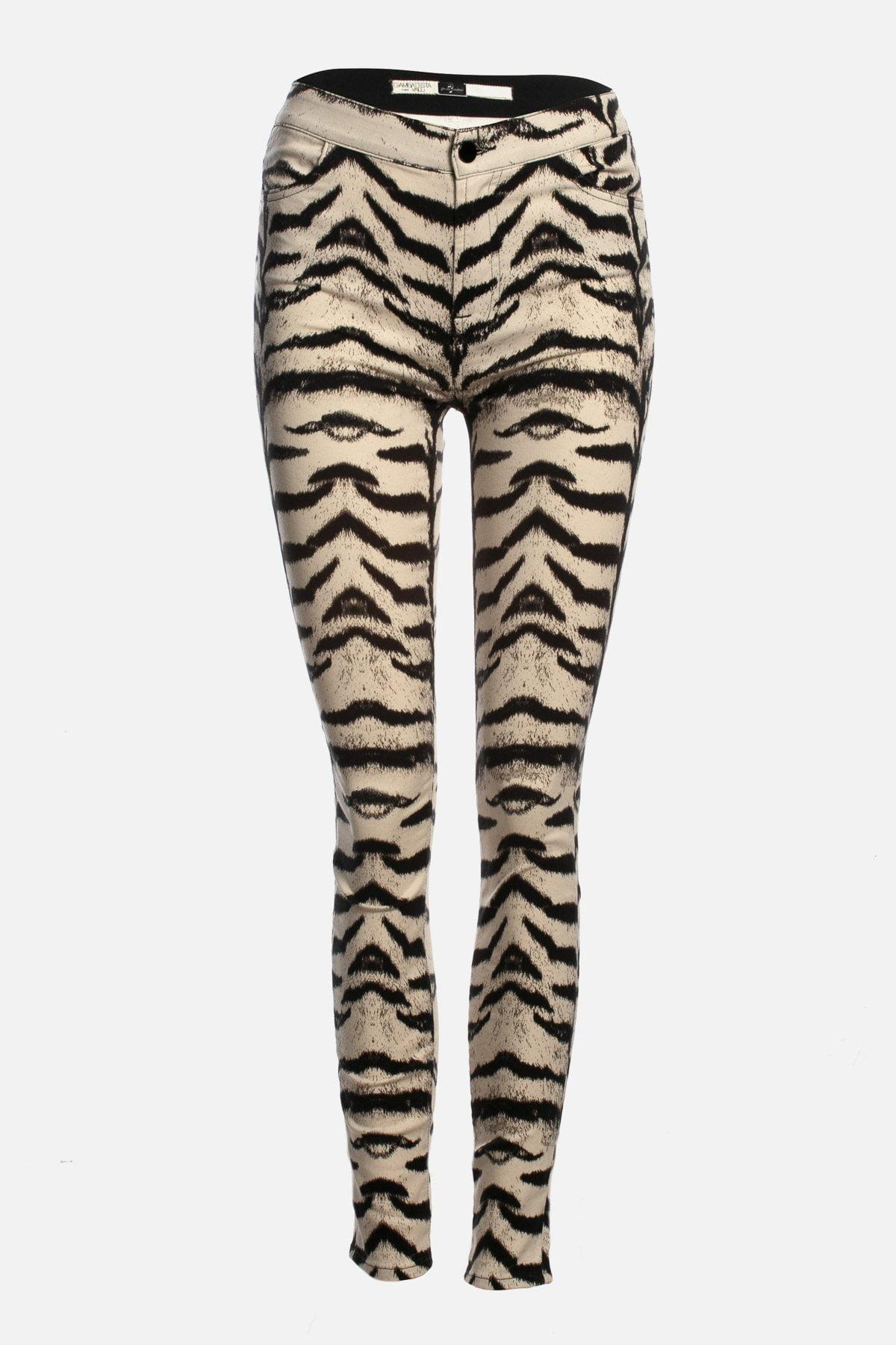 Zebra-Print Skinny High-Rise Jeans