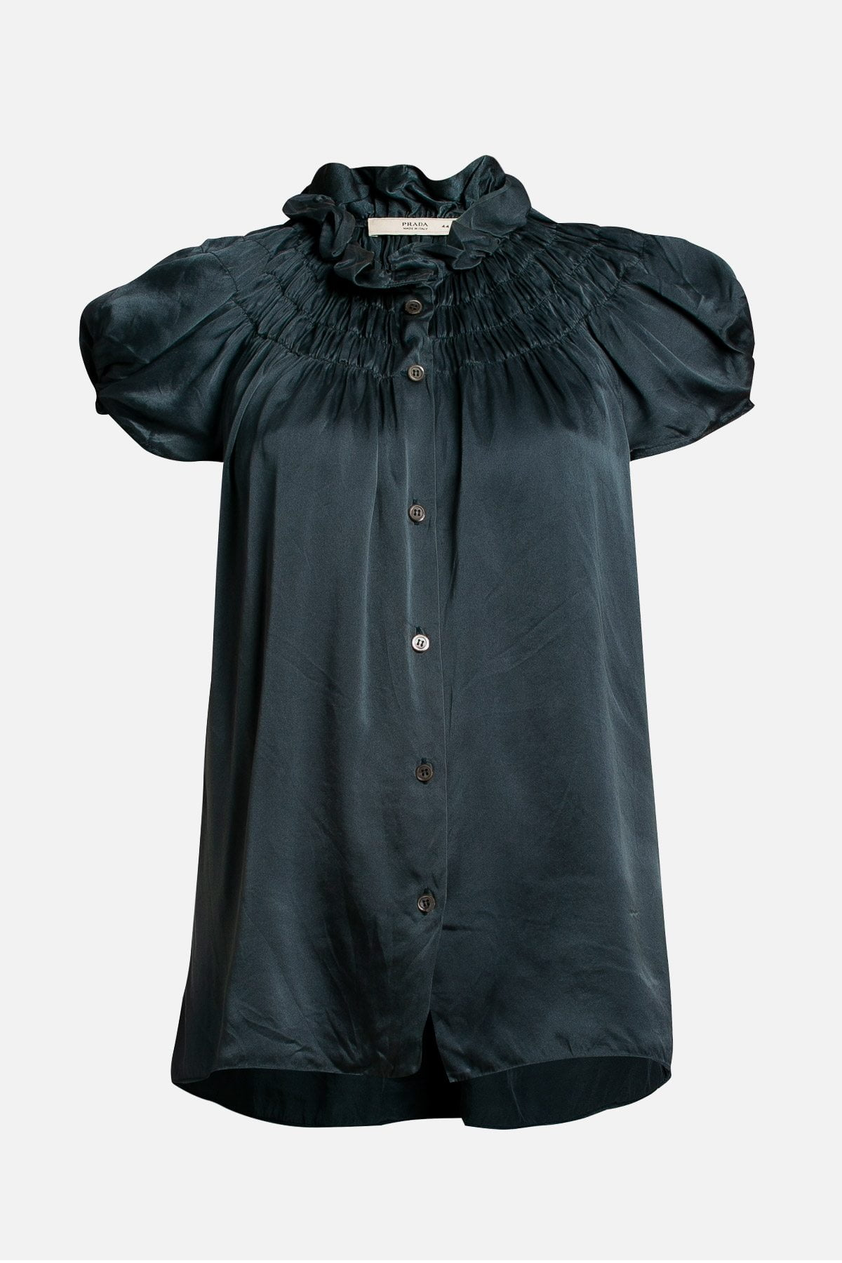 Short Sleeve Ruched Button-Up Silk Top