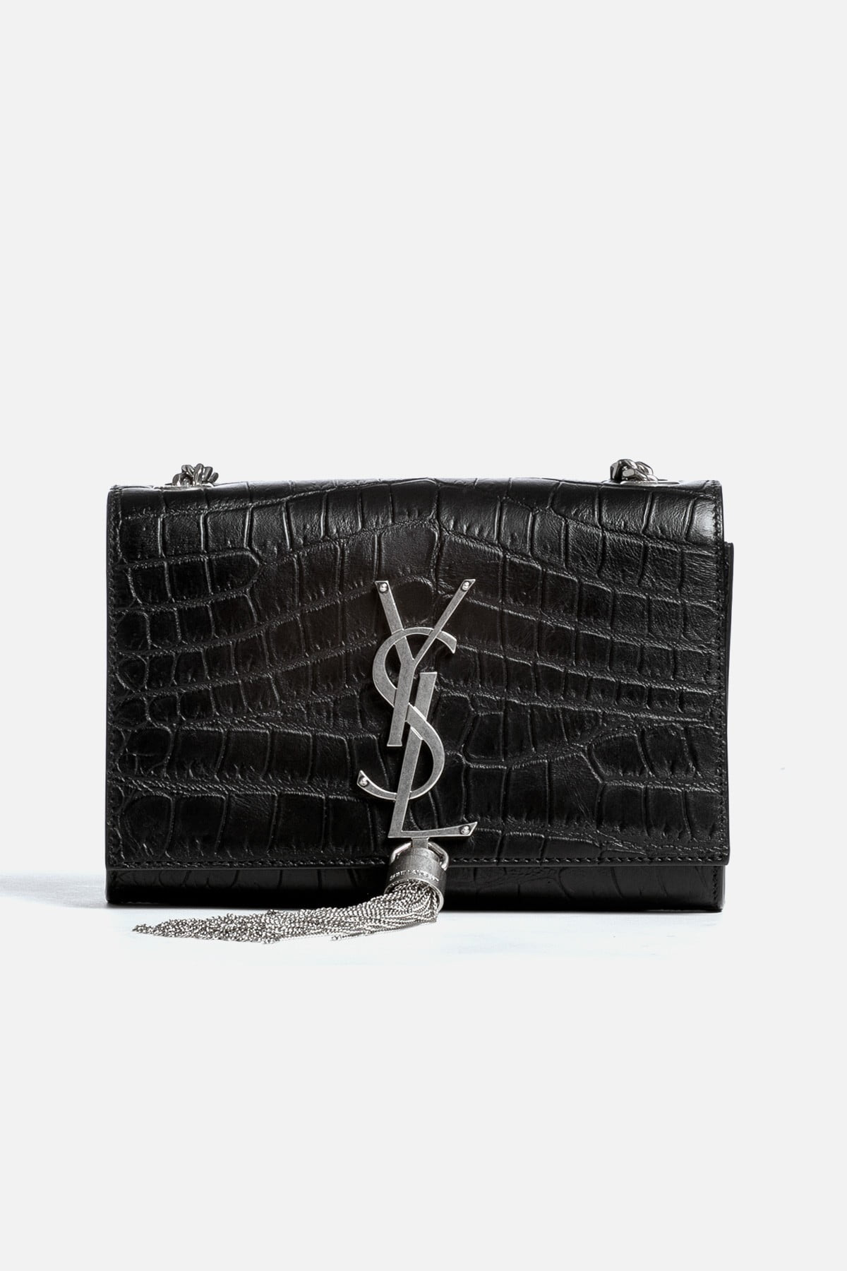 Crocodile Embossed Monogram Small Kate Tassel Bag