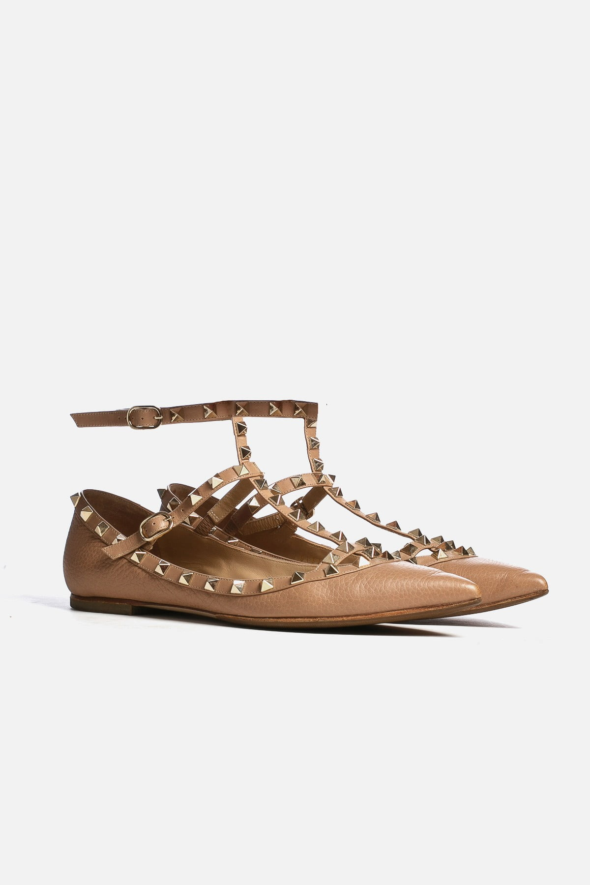 Rockstud Accents Leather Flats
