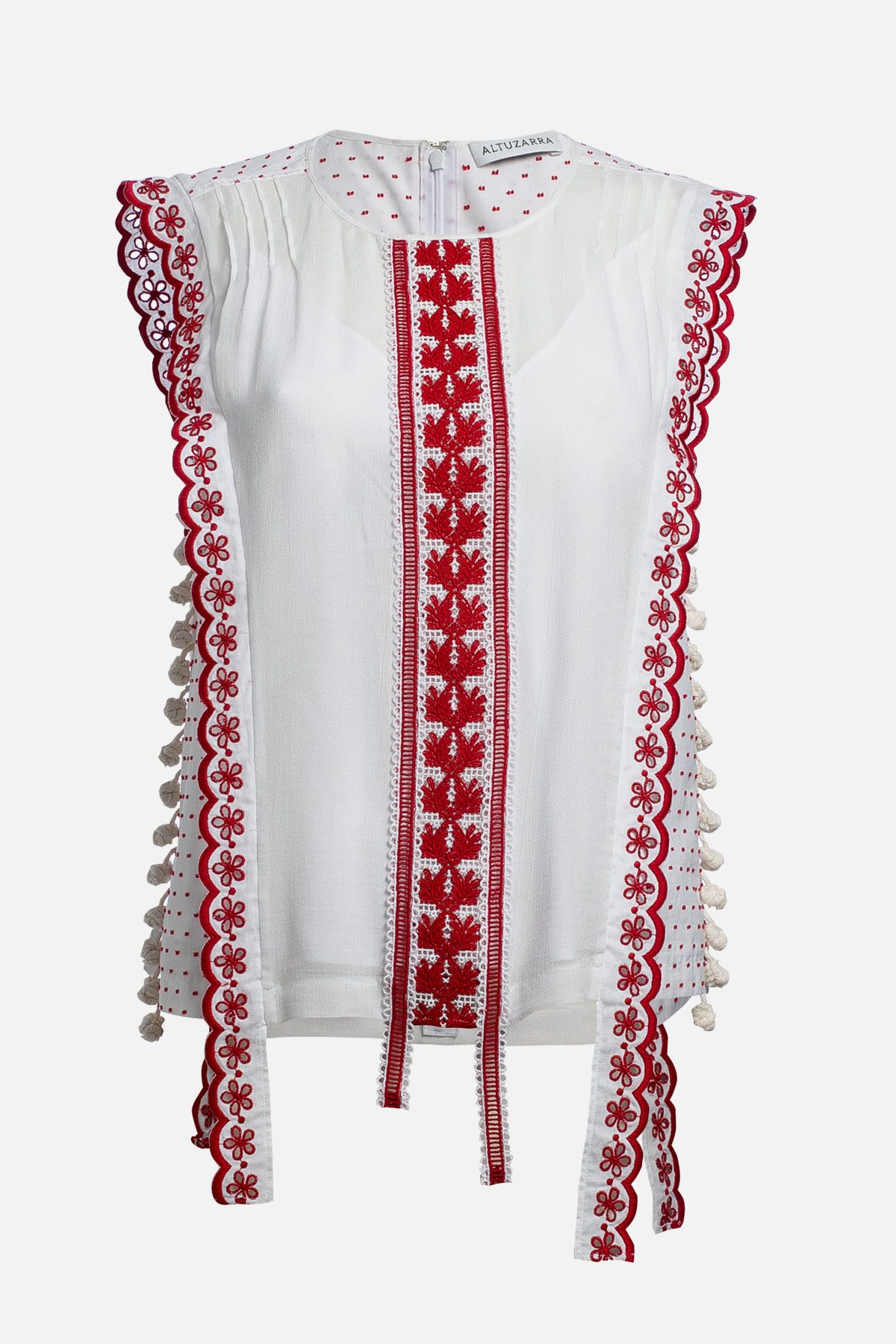 Alma Top White and Red Trim