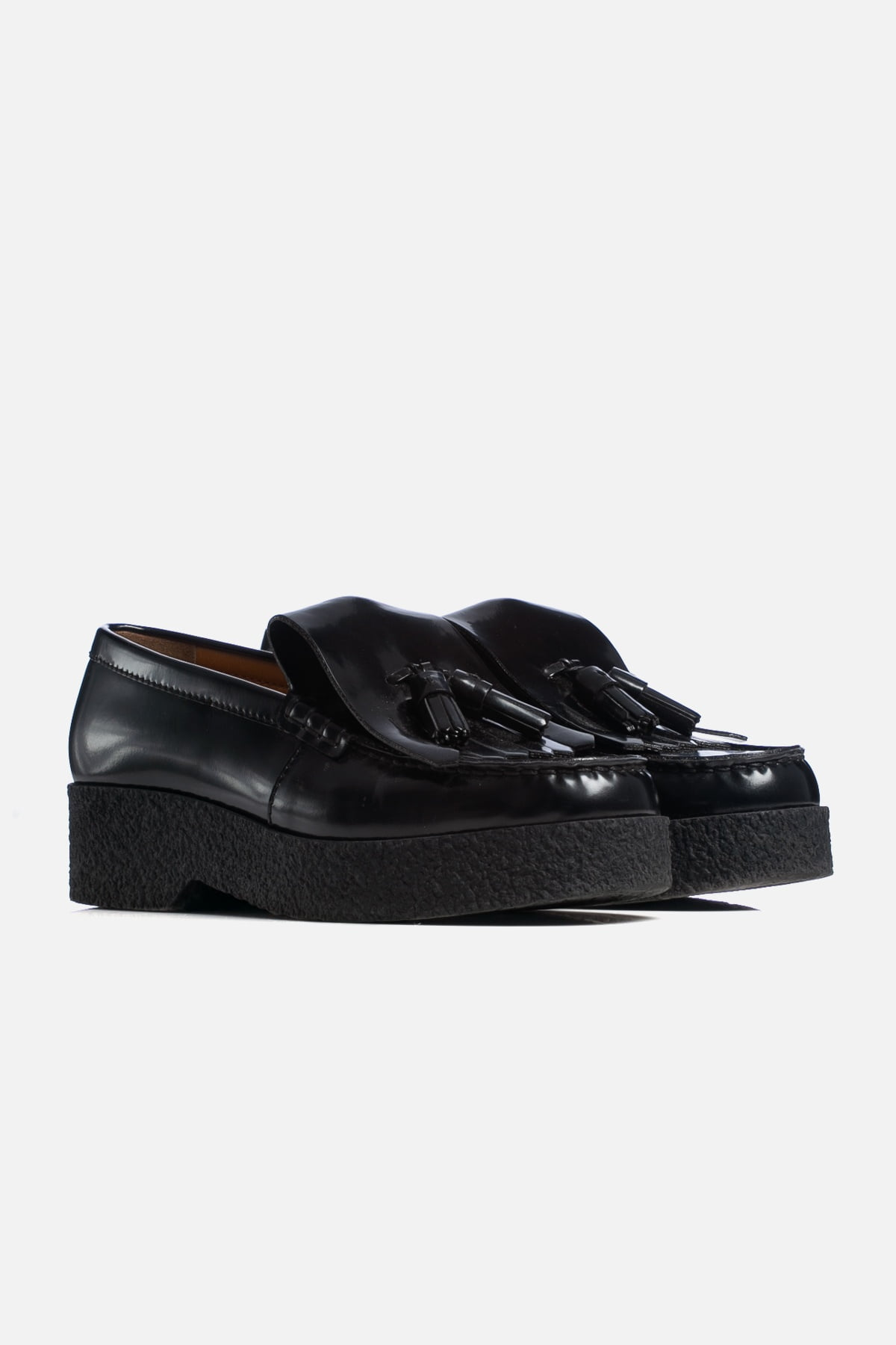 Patent Leather Tassel Accents Loafers