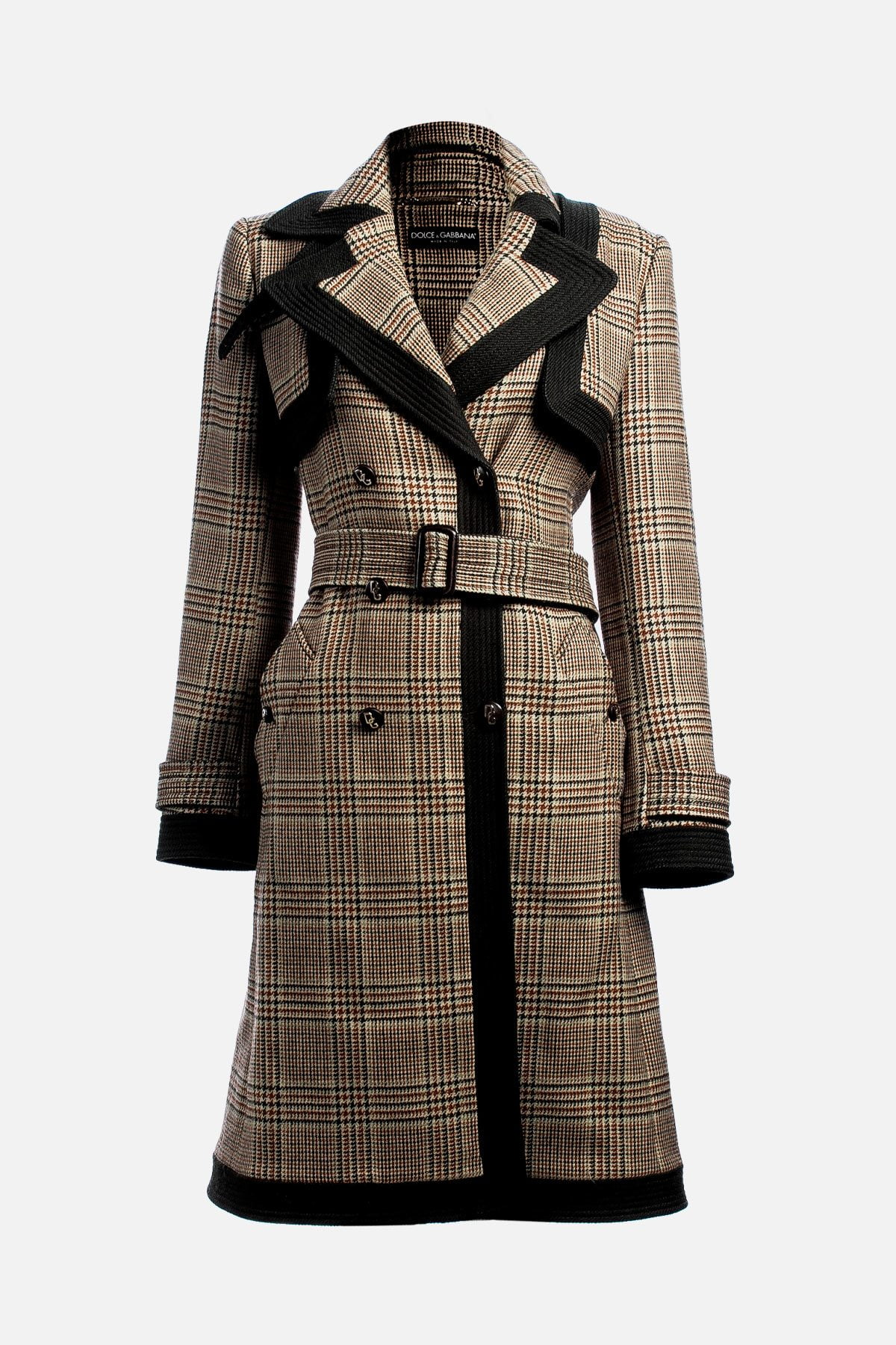 Virgin Wool Plaid Print Trench Coat