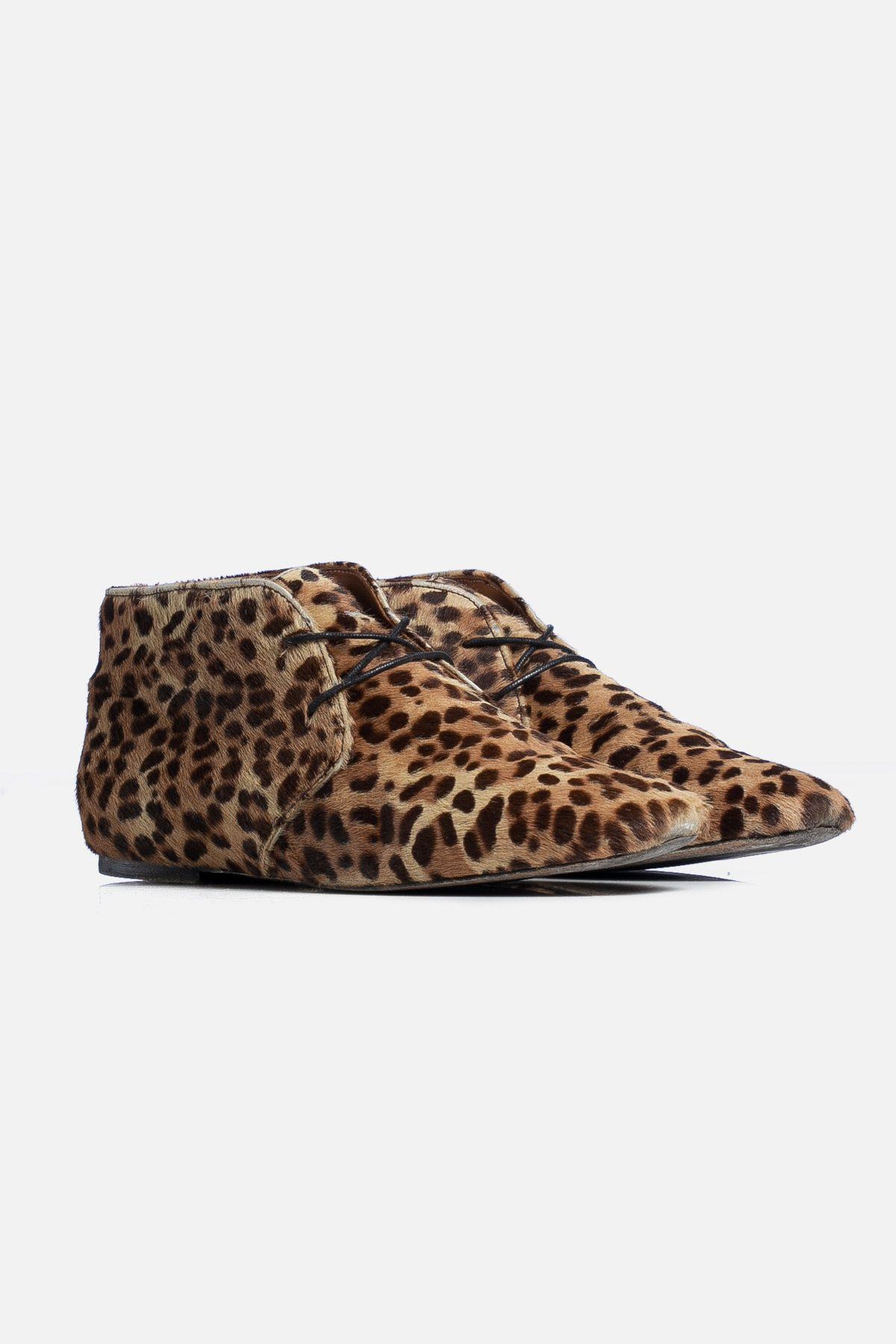 Ponyhair Leopard Print Lace-Up Boots