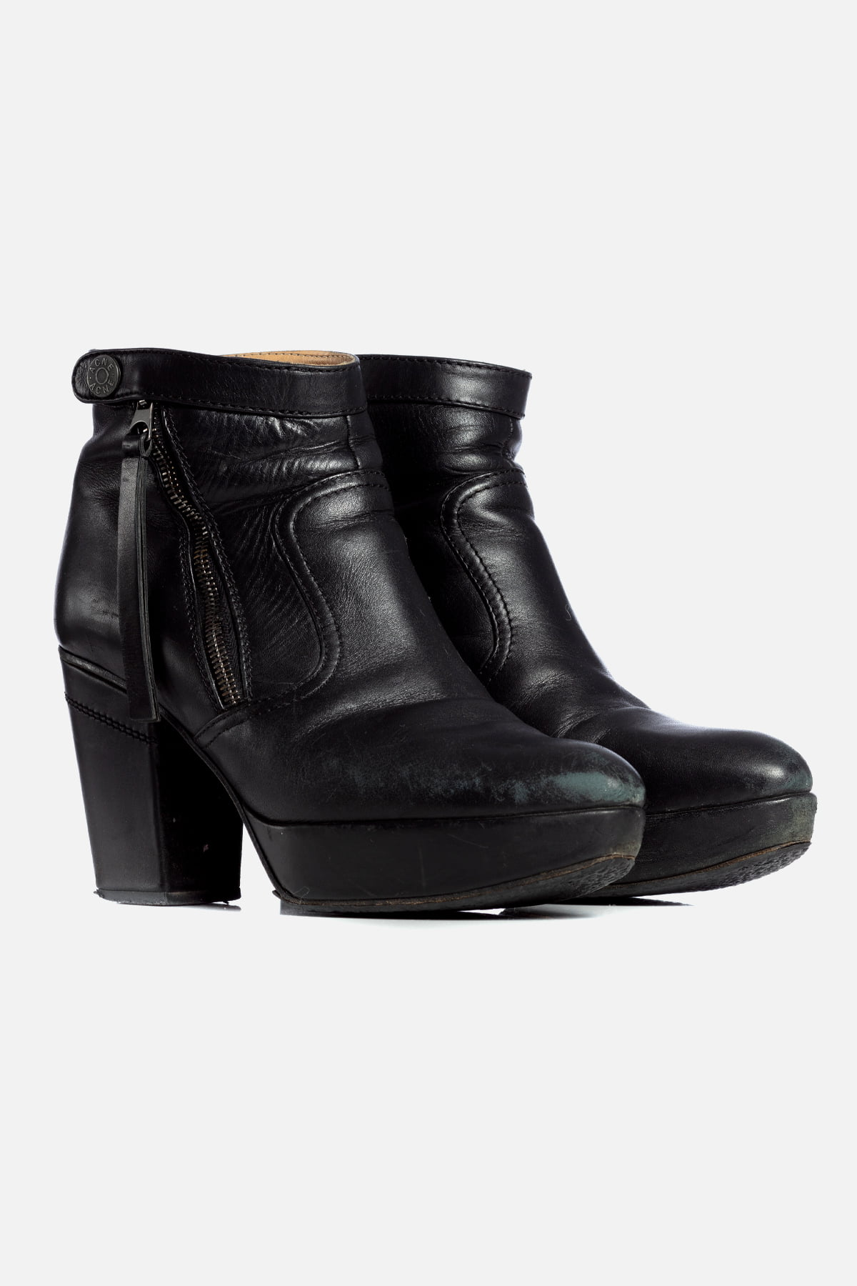 TRACK LEATHER ANKLE BOOTS