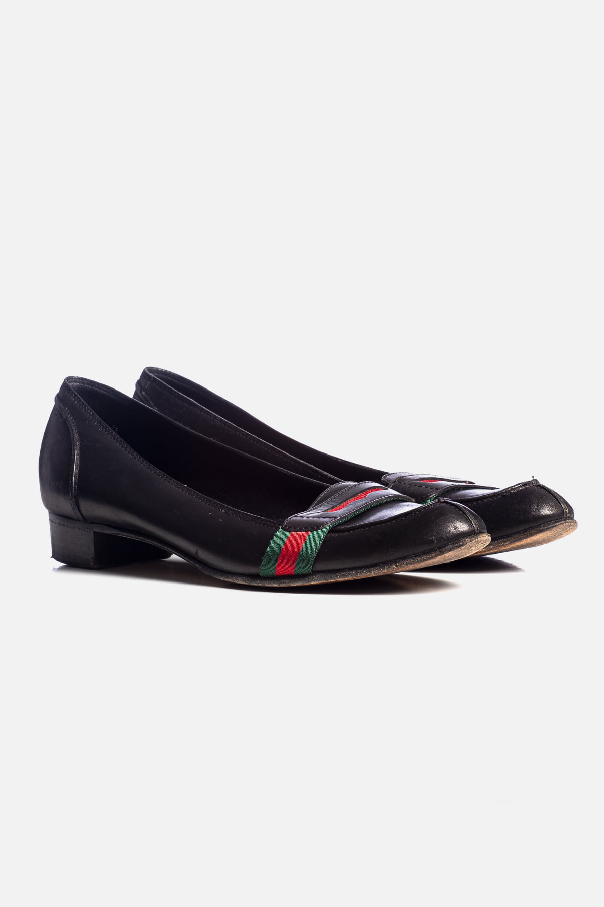 GG Canvas Leather Flats