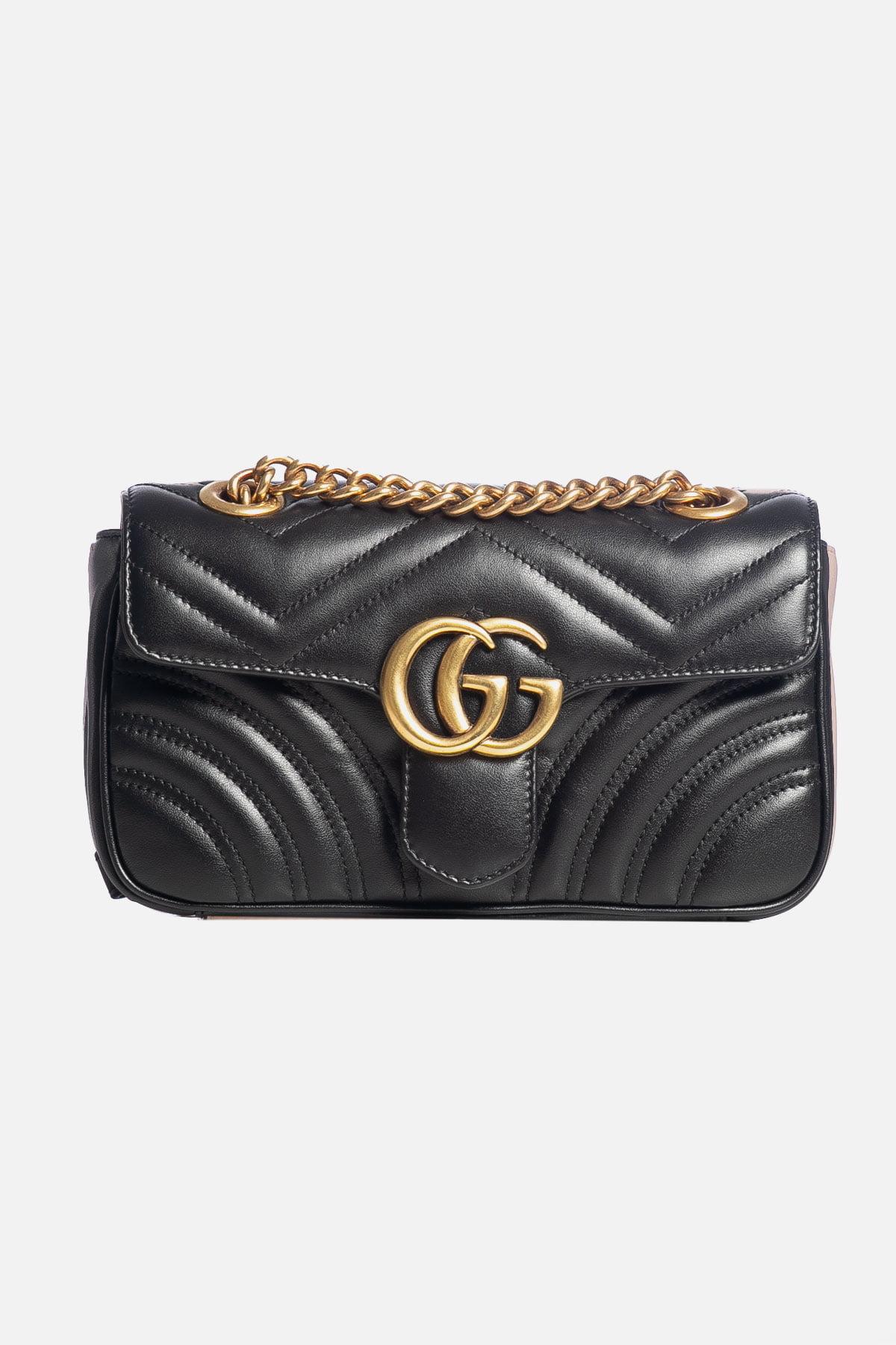 Gucci GG Marmont Mini Matelassé Shoulder Bag Black REWAY 1